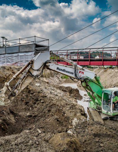 Hochwasserschutzanlage neue Brücke an der Freiberger Mulde in Döbeln